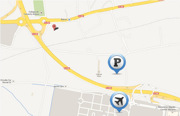 Alicante airport parking location map